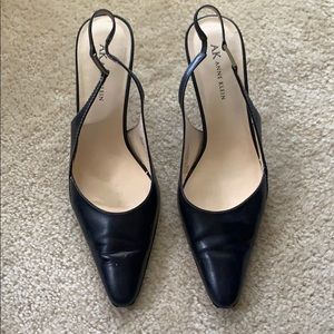 Black open back point toe heel